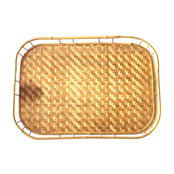 Vintage Boho Shallow Wicker Basket Tray